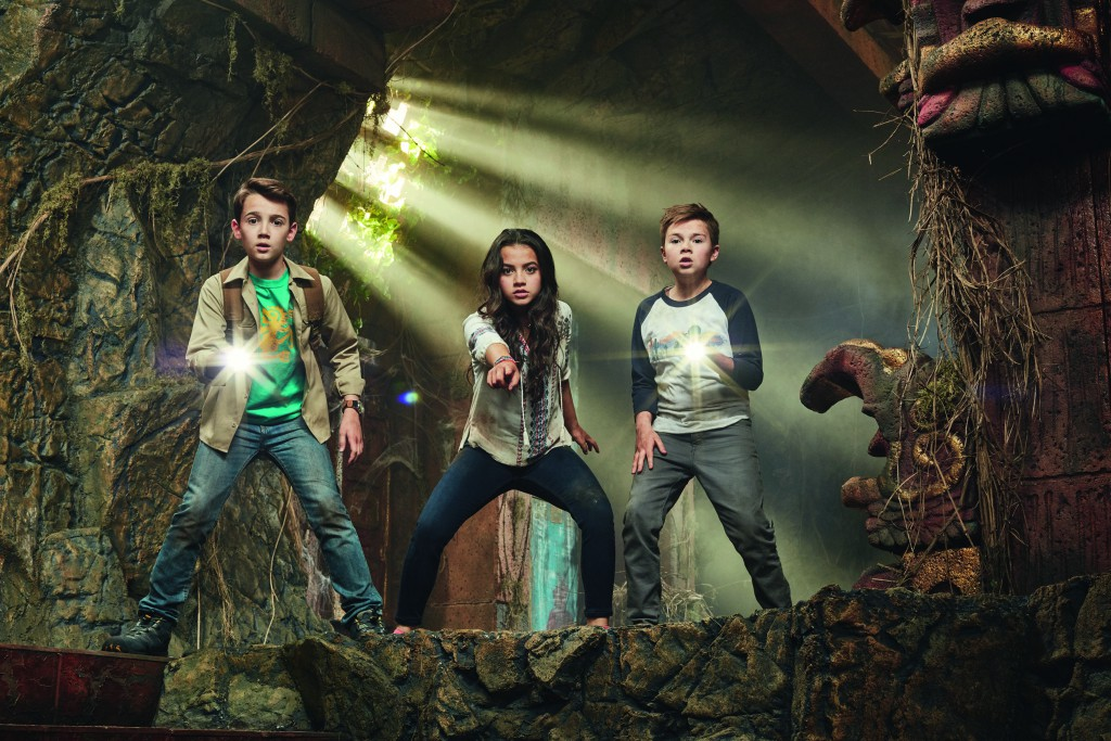 LEGENDS OF THE HIDDEN TEMPLE GALLERY:Pictured: Sadie (Isabela Moner),Noah (Colin Critchley), Dudley (Jet Jurensmeyer) in LEGENDS OF THE HIDDEN TEMPLE on Nickelodeon. Photo: Mathieu Young/Nickelodeon. © 2016 Viacom International, Inc. All Rights Reserved.  MANDATORY CREDIT; NO SALES; NO ARCHIVE Credit Line: MATHIEU YOUNG/NICKELODEON  Vanities: Style Consultant: Alecia Ebbels Style Assistant: Misty Greer Key Makeup: Darci Jackson Key Makeup: Jan Ballard Key Hair: Russel Brady Assistant Hair: Sandi Hall Costume Designer: Ken Shapkin Photographer: Mathieu Young